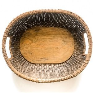 Large Oval Woven Basket with Handles
